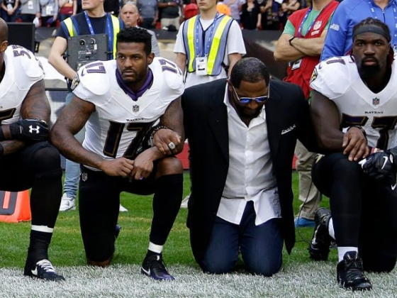 Ray Lewis, tired of shucking and jiving, gets on his knees.